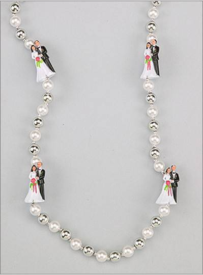 Wedding Beads Bride & Groom White in Silver - CLONED