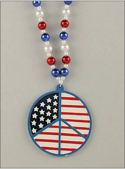Peace Sign Beads Red, White & Blue