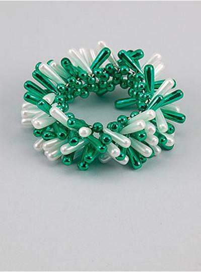 Theme Bracelets Green & White Teardrop
