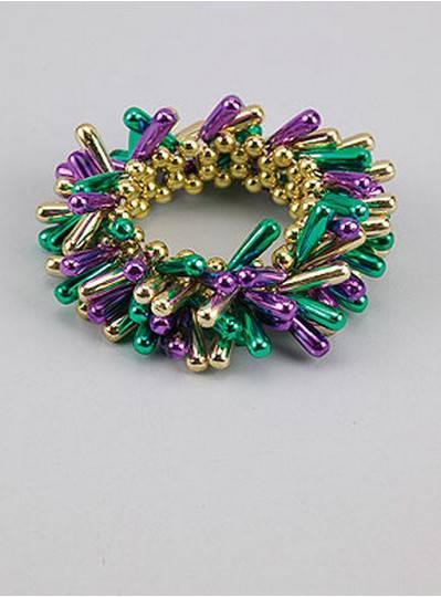 Beaded Bracelets Purple, Green & Gold