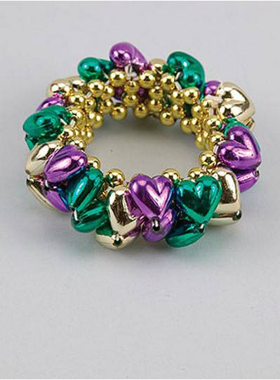 Heart Style Bracelets Purple, Green & Gold
