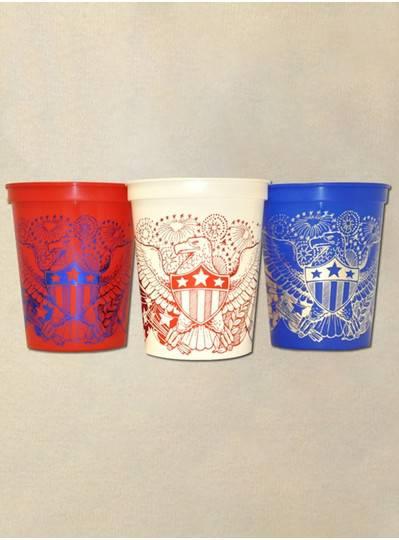 Theme Plastic Cups Patriotic American Eagles