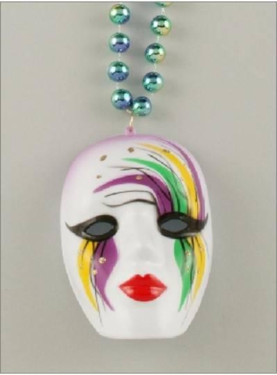 Mardi Gras Themes Mask Medallion White