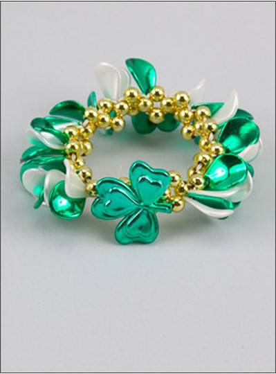 Theme Bracelets Green & White Shamrock