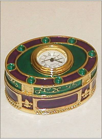 Gift Items Purple, Green and Gold Clock Box