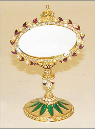 Gift Items Jeweled Mirror on Stand