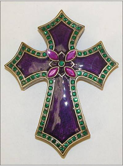 Gift Items Cross in Purple, Green and Gold