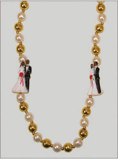 Wedding Beads Bride & Groom Black in Gold