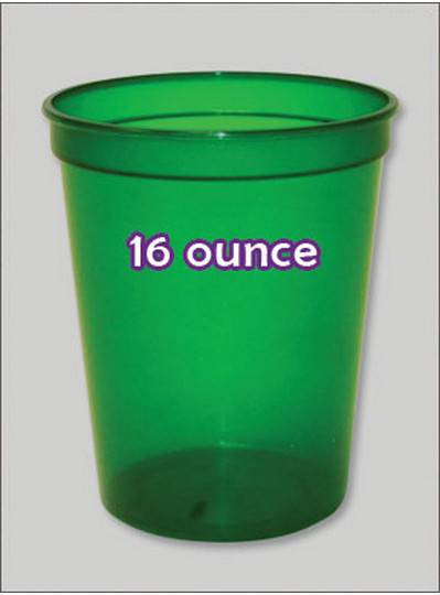 Plastic Cups 16 Ounce Green C-Thru