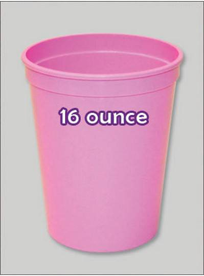 Plastic Cups 16 Ounce Soft Pink