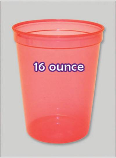 Plastic Cups 16 Ounce Red C-Thru