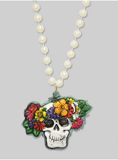 Halloween Beads Skull with Flowers