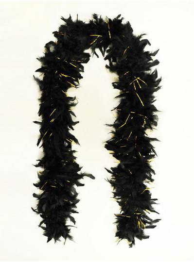 Feather Boa Black with Tinsel