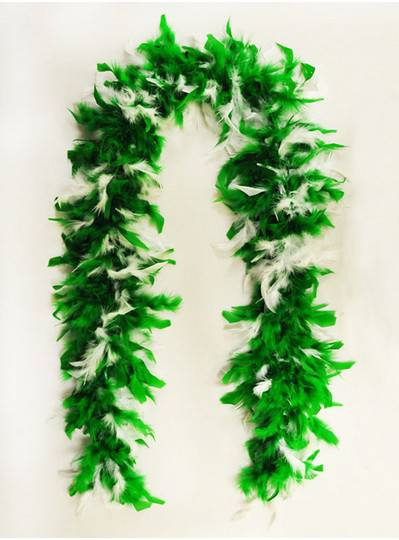 Feather Boa Green & White Light Weight
