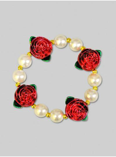 Fun Accessories - Rose and Pearl Bracelet