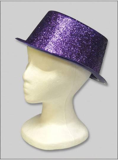Hats and Headgear Purple Glitter Top Hat