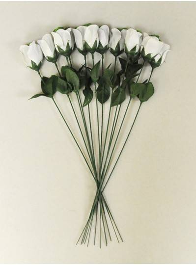 "Plush Dolls & Toys - Green & White 16"" Long Stem Roses"