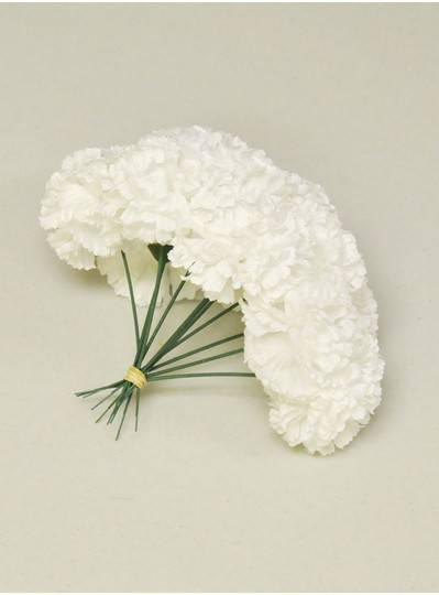 "Plush Dolls & Toys - White 7"" Short Stem Carnations"