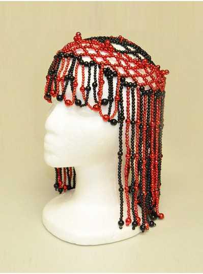 Beaded Headpiece Black & Red