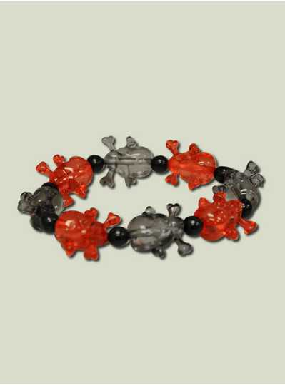 Skull Bracelet - Black and Red Transparent Skulls
