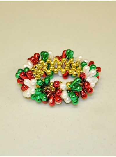 Beaded Bracelets Red, Green & White