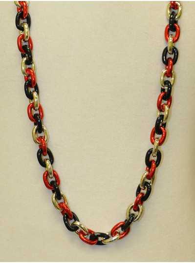 "48"" Chain Single Red, Black & Silver"