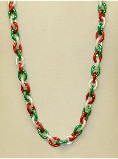 """48"""" Chain Single Red, White & Green"""