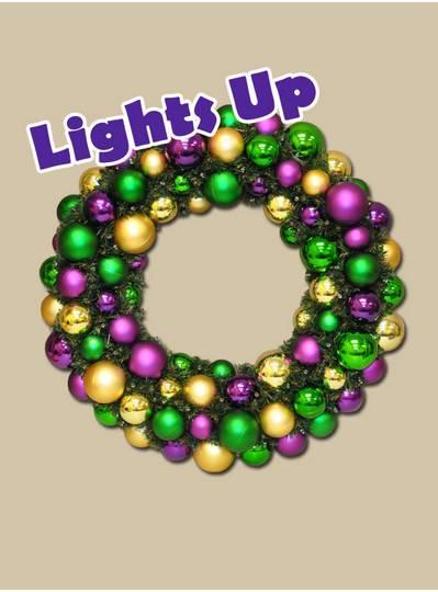 "Mardi Gras Themes - 28"" Light-Up Mardi Gras Wreaths"