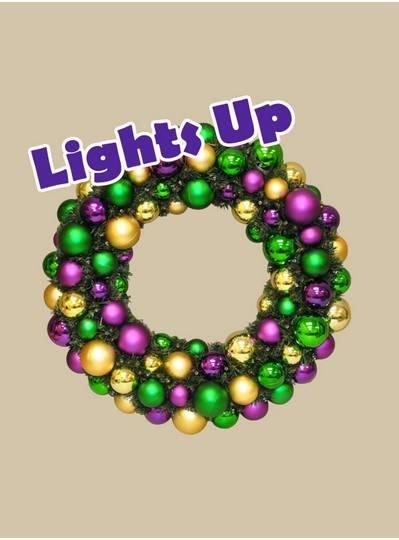"Mardi Gras Themes - 20"" Light-Up Mardi Gras Wreaths"