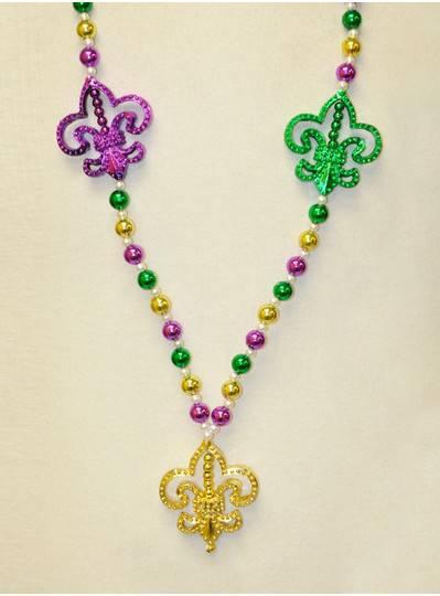 Mardi Gras Themes - Blingy Fleur de Lis Handstrung Bead