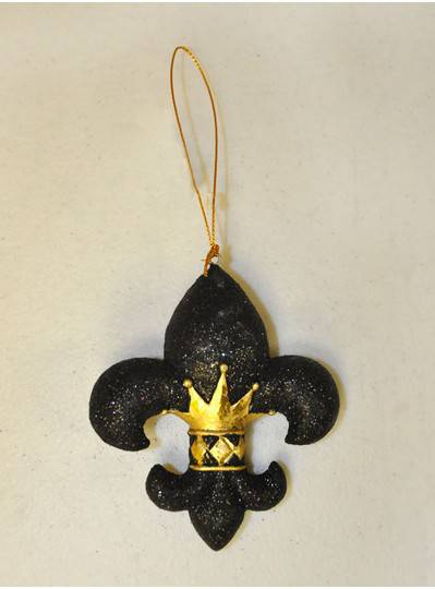 Decorations - Black Fleur de Lis Ornament with Crown