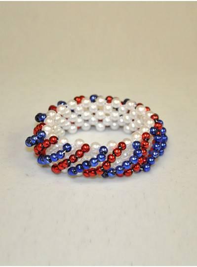 Patriotic - Red, White & Blue Swirl Bracelet