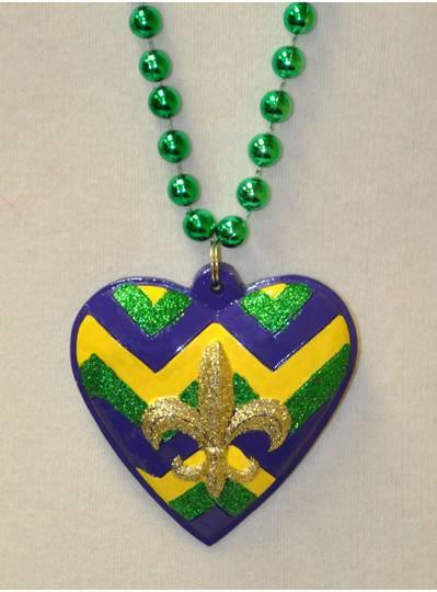 Heart Polystone with Glitter Fleur de Lis