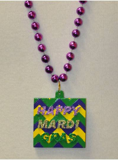 Happy Mardi Gras Chevron Polystone