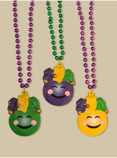 Smiley Mardi Gras Jester Bead