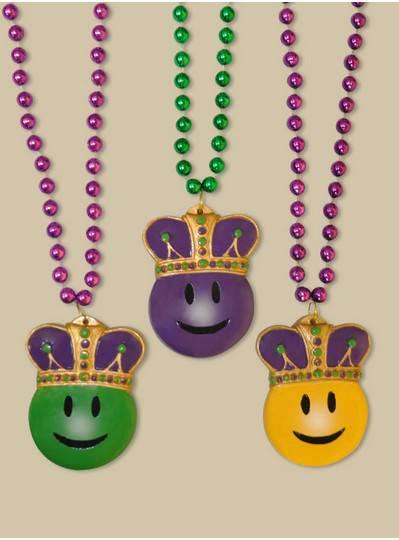 Smiley Mardi Gras King Bead