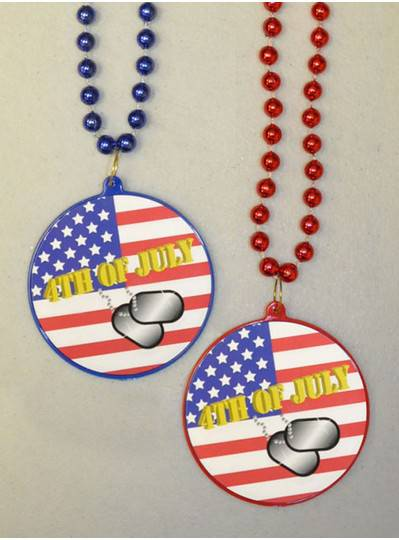 Fourth of July Decal Bead with Dog Tags