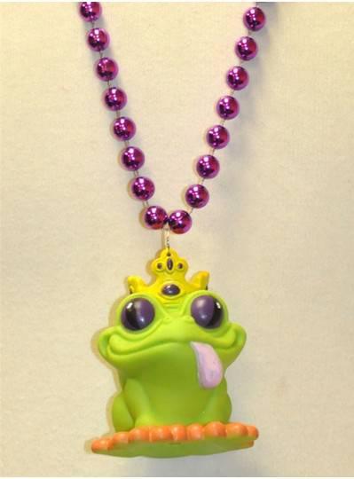 "33"" 12MM Creatures & Critters Frog Prince on purple metallic bead"