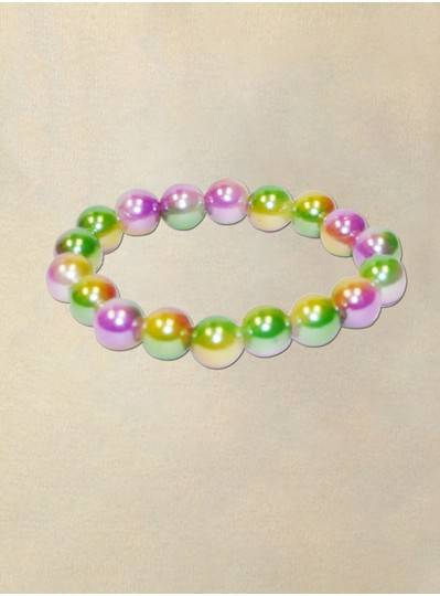 "8"" 12MM Purple, Green and Gold Three Tone Bracelet"