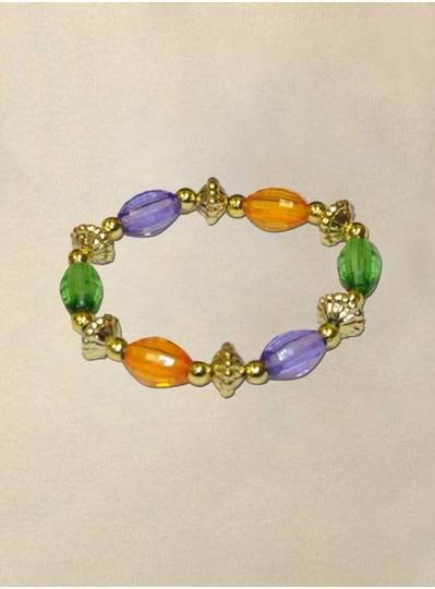 "8"" 15MM Transparent  Purple, Green and Gold Oval Bracelet"