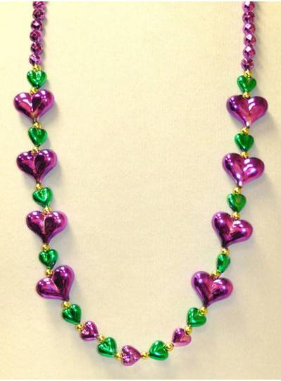 "39"" 8 Large Purple Hearts and 12 Small Green Hearts Mardi Gras Themes"