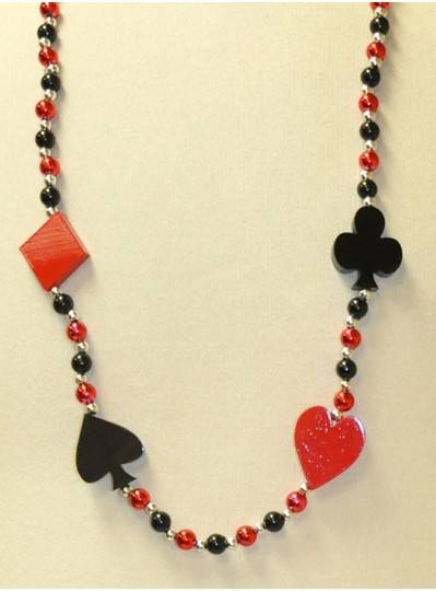 "40"" 10MM Red and Black Card Suits with Red, Black and Silver Beads"