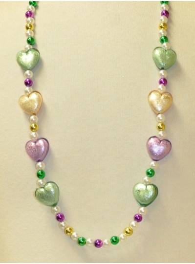"40"" PGG Transparent Heart With a Silver Core Mardi Gras Themes"