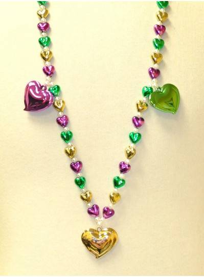 "38"" Purple, Green and Gold Small Hearts and 3 Large Hearts"