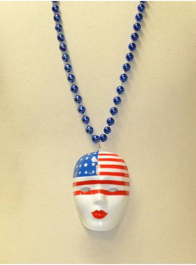 """36"""" 12MM Red, White and Royal Blue Patriotic Mask with Flag"""