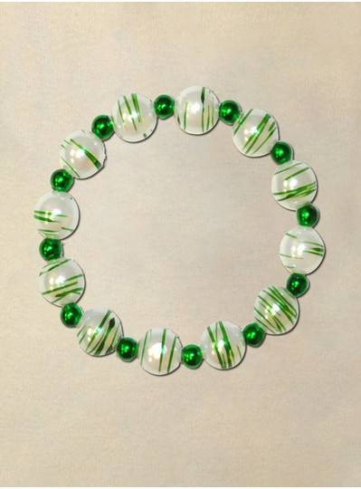"8"" 12MM Theme Bracelets Green and White Stripe w/ Green Metallic Spacers"