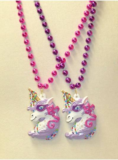 """36"""" 10MM Purple and Pink Beads with White Festive Unicorn"""