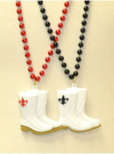 "36"" 10MM Red and Black Fleur De Lis and Beads on White Shrimp Boots"