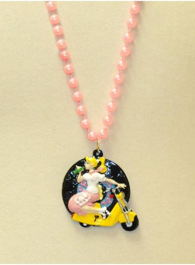"36"" 10MM Girl on a Scooter with Pink Pearl Beads"