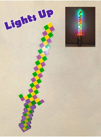 "Plush Dolls & Toys - 25"" Purple, Green and Gold Light Up Sword"